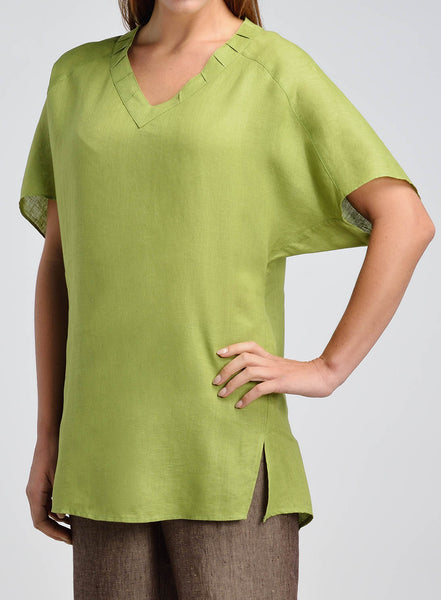 V-neck side slit natural flax tunic