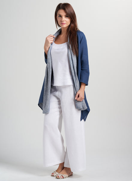 Linen Scarf Contrast Layering Over Jacket