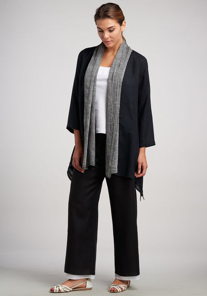 Black and white linen pants and jacket outfit