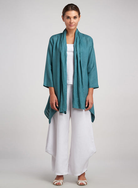 Scarf layering Linen jacket