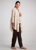 Pointed hemline linen duster