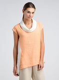 Cowl neck linen tunic in plus size