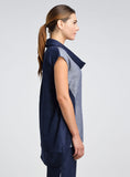 Linen Color Block Cowl Neck Tunic