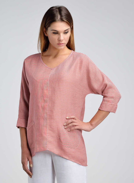 Linen V-neck Stripe Pullover Top