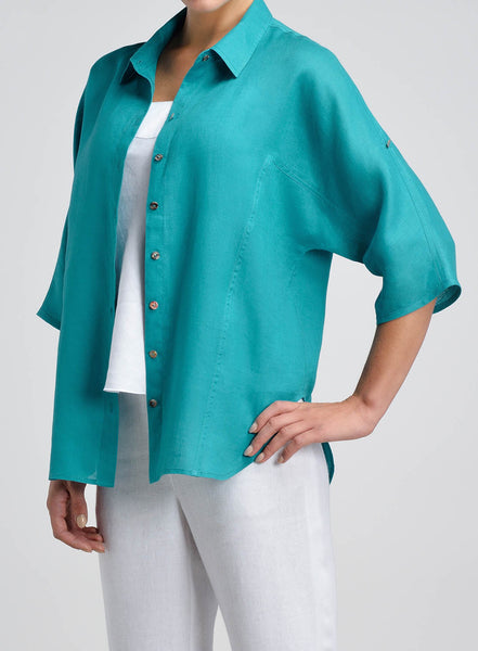 Elbow sleeve pointed collar linen shirt