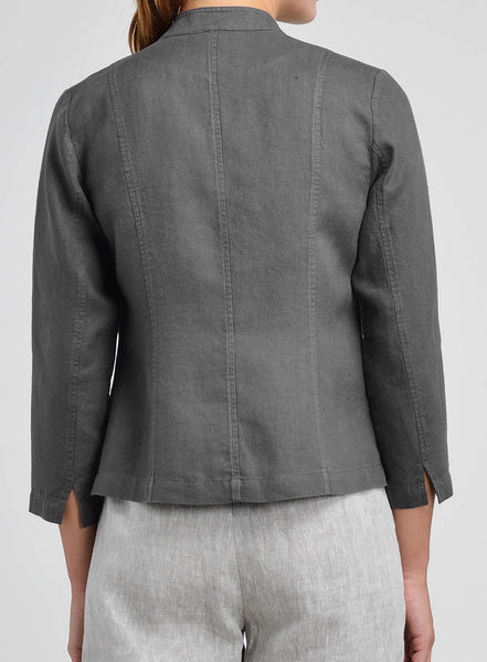 Linen Grandad Fitted Short Blazer
