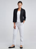 Black linen blazer working outfit