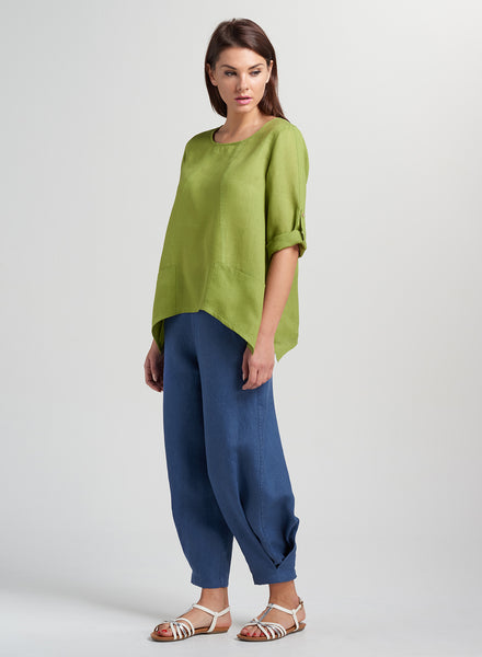 Linen Shark Bit Roll-up Sleeves Top