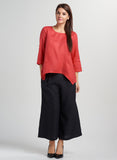 Red linen blouse with pockets