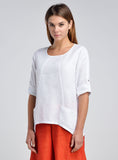 White linen top with scooped neckline