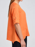 Three quarter sleeve with roll tab blouse