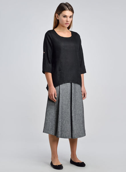 Black linen three quarter sleeves top