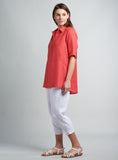 Linen Curved Seam Shirt Sleeves Blouse