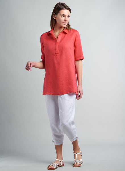 Linen shirt with half placket