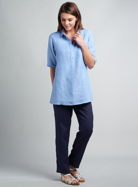 Mid-length short sleeves linen top