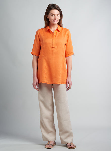 Short sleeves linen top with collar