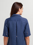 Flattering detail on the back with button