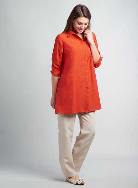 Linen long tunic with shirt collar