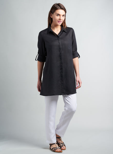 Linen long shirt with roll up sleeves