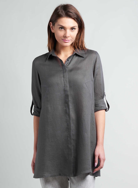 Open front long linen shirt for women