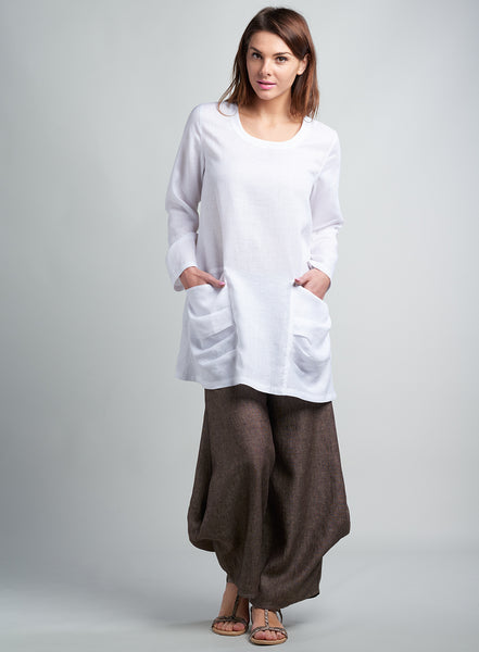 Linen top with pockets