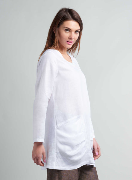 Linen Pleated Details Pocket Bracelet Sleeves Tunic