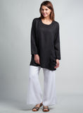 Women linen clothing in black