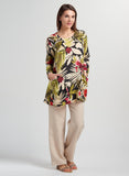 Long sleeves linen tunic with floral print