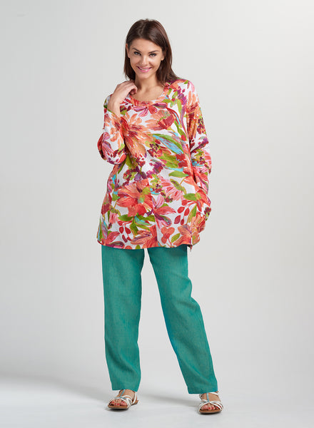 Bright color linen printed top
