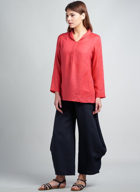 Linen Jersey Binding Short Sleeve Top