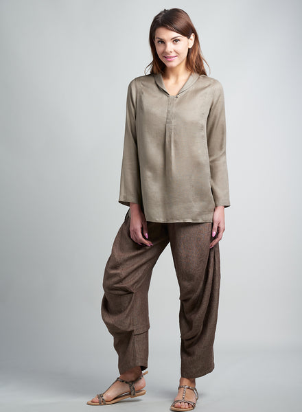 Linen Shawl Collar Top