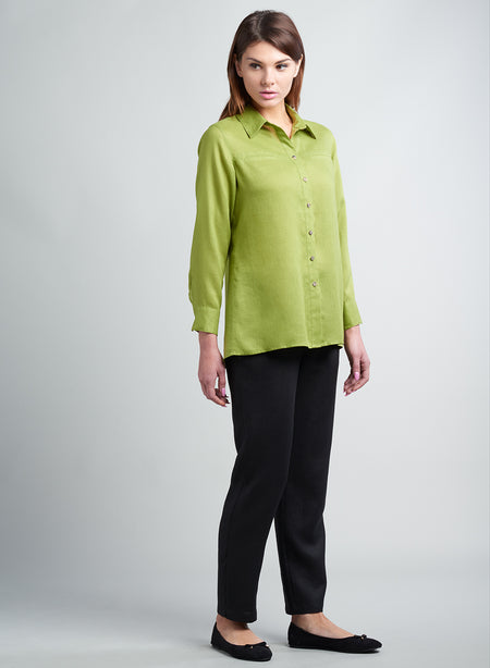 Two Tone Linen Panels Collar Shirt