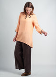 Linen Chinese Button Elbow Sleeves Top