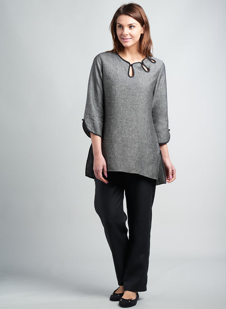 Linen Bubble Sleeve Tunic