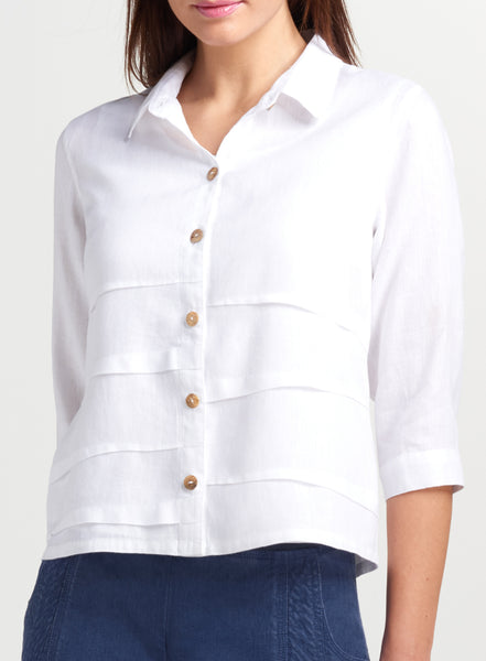 Cropped linen shirt in white color