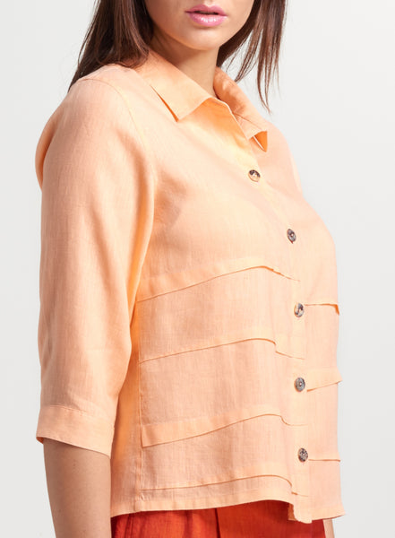 Penny Linen Sleeved Collar Shirt Jacket