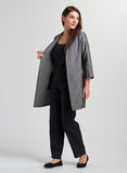 Linen Open Front Long Jacket