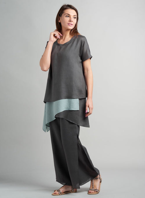Linen Asymmetric Double Layering Tunic