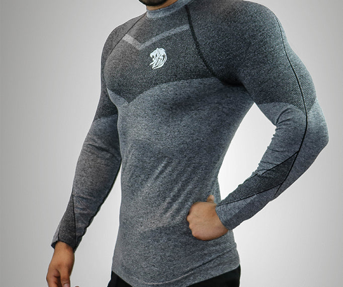 seamless gym shirt long sleeve grey sports fitness lion