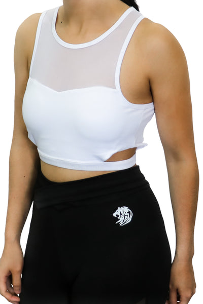 DULCIS WHITE SPORTS BRA - White Lion Apparel