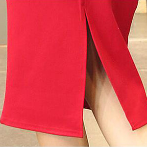 f998598bfd High Waist Pencil Skirts Plus Size Tight Bodycon Fashion Women Midi Skirt  Red Black Slit Women's