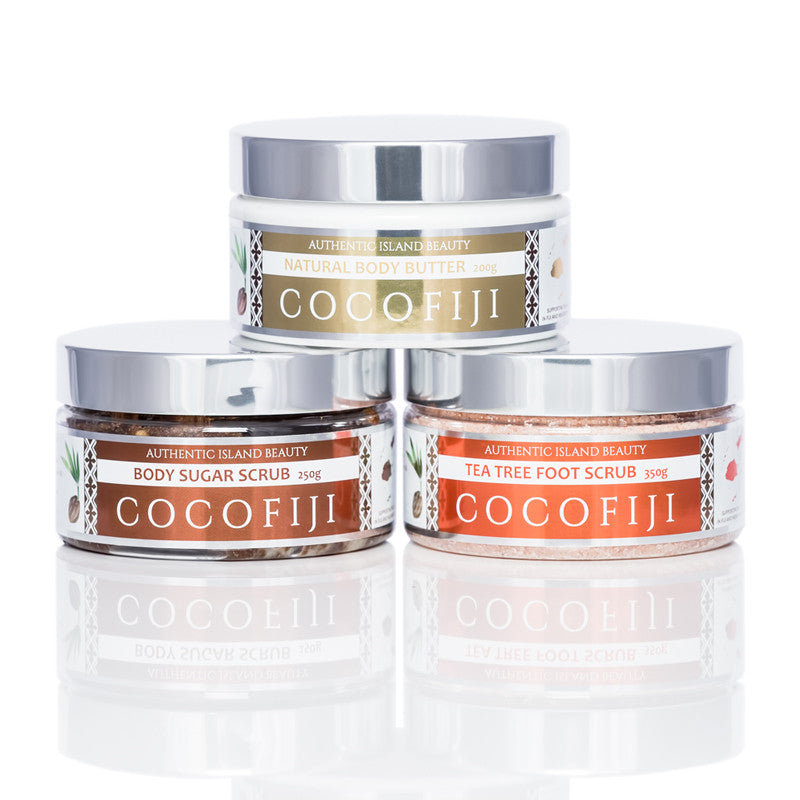 COCOFIJI - Skin Care Bundle - Body Butter, Sugar Body Scrub, Tea Tree Foot Scrub