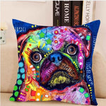 Colorful Cute Pug Pillow Case