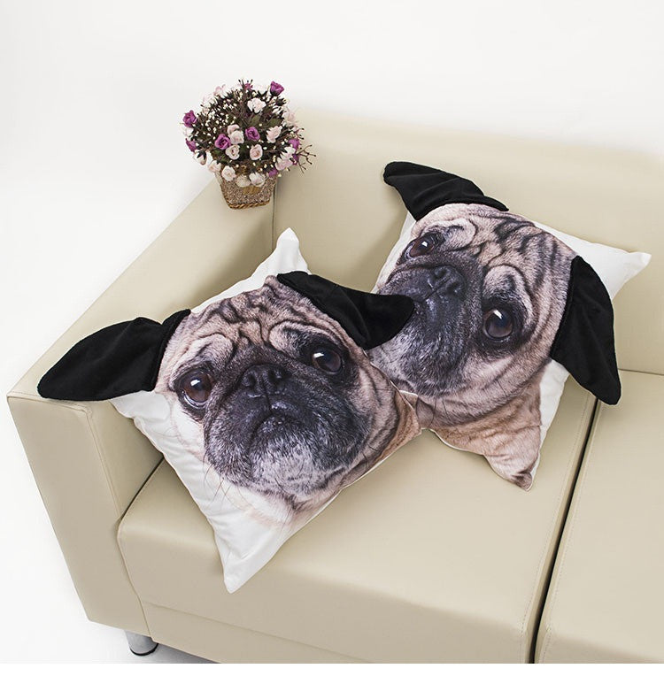 Cute Pug Big Face Pillow Case