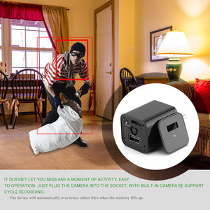 Image of a usb wall charger spying on thief