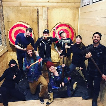 Eagle Pass Heli Skiing Staff Party at Peak Axe Throwing - Revelstoke B.C