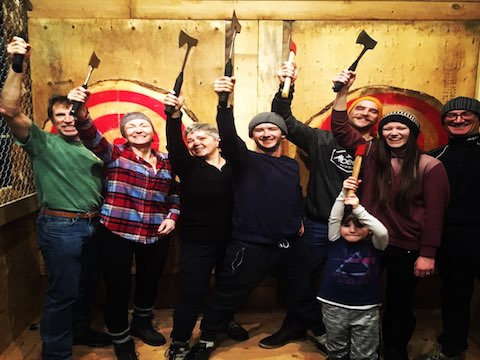 Peak Axe Throwing First Group Ever