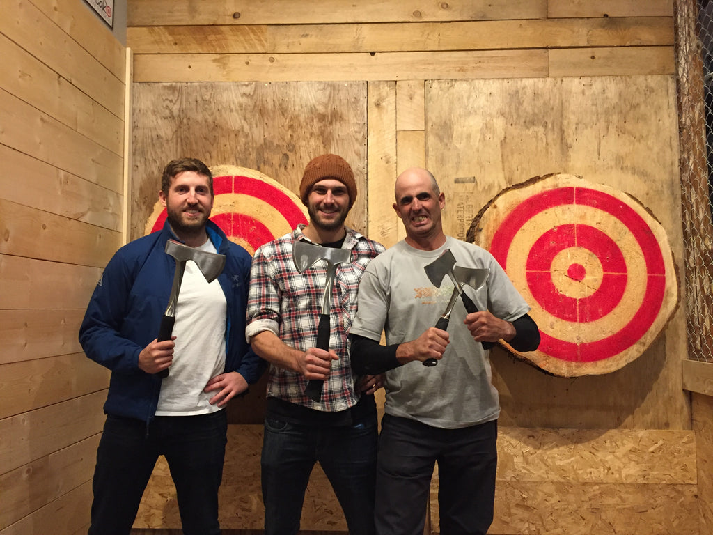 Peak Axe Throwing Group Photo - Revelstoke , B.C