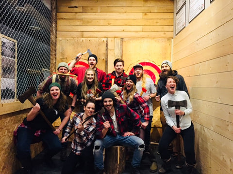 Peak Axe Throwing - Revelstoke Mountain Resort's Mackenzie Common Staff Party - Revelstoke B.C