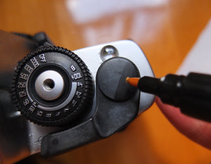 Restoring Whitened Quick-Wind Lever of Leica R7 SLR